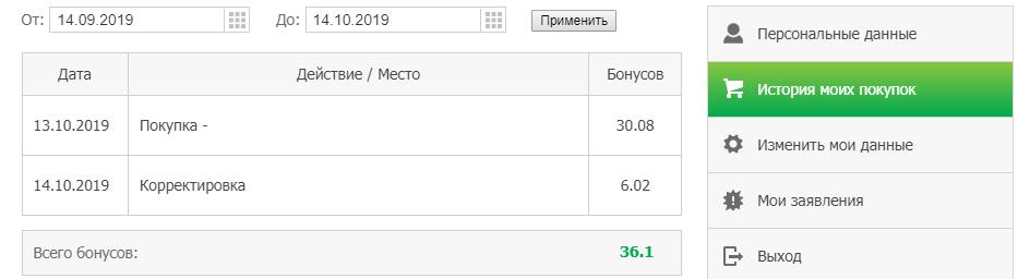 История начислений бонусных рублей