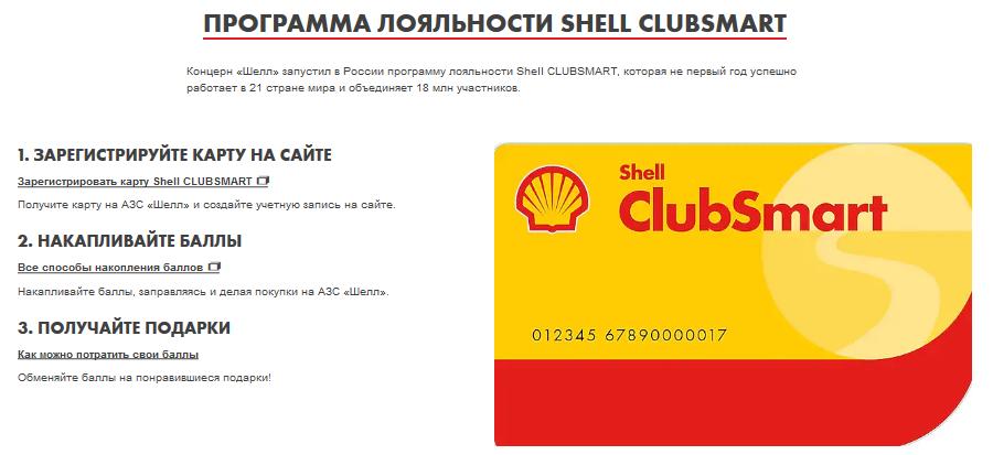 Программа лояльности Shell ClubSmart